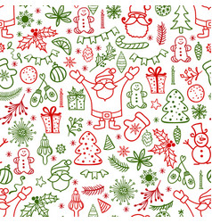 Christmas design element in doodle style pattern vector