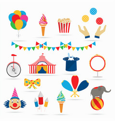 circus icons in a flat style vector image
