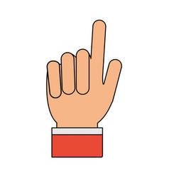 Color image cartoon hand with two fingers up vector