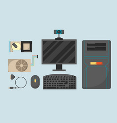 Computer parts network component accessories vector