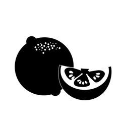 Contour fresh lemon with slice organ fruit food vector