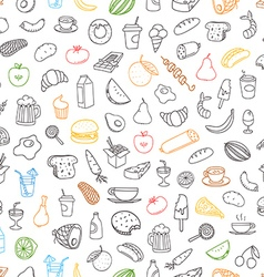 Different color food doodles seamless background vector image vector image