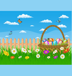 Easter card with easter eggs on a grass field vector