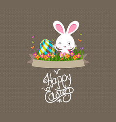 easter eggs and bunny graphical elements vector image vector image
