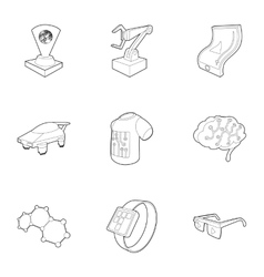Electronic devices of future icons set vector
