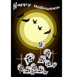Evil Bats Flying Over The Graveyard Background vector image