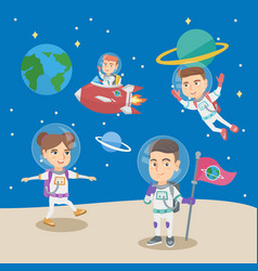 Group of little children playing in the astronauts vector