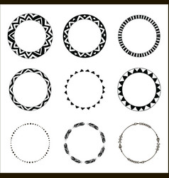 hand drawn ethnic circles ink collection of vector image vector image
