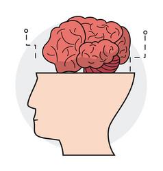Human head brain think concept vector