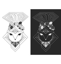 Linear of owl head vector image