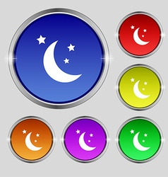 moon icon sign Round symbol on bright colourful vector image vector image