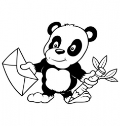 panda and letter vector image vector image