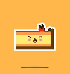 piece of cake kawaii character cartoon emoticon vector image vector image