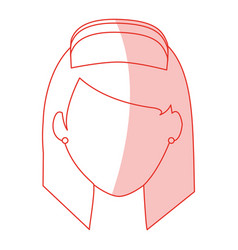 Red silhouette shading faceless female nurse front vector