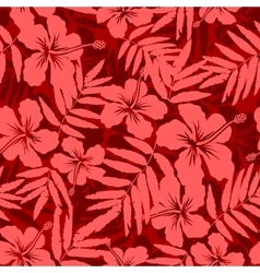 Red tropical flowers silhouettes seamless pattern vector image