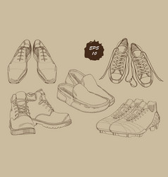 set hand drawn graphic men footwear with sepia vector image