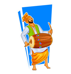 Sikh punjabi sardar playing dhol and dancing vector