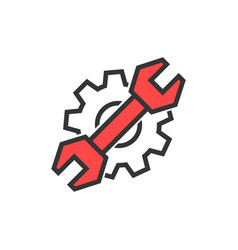 simple thin line wrench and gear logo vector image vector image
