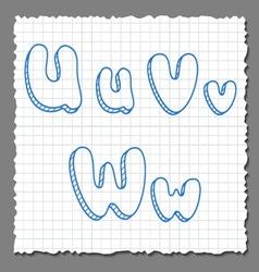 sketch 3d alphabet letters - UVW vector image