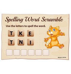 spelling word scramble game with word kitten vector image vector image