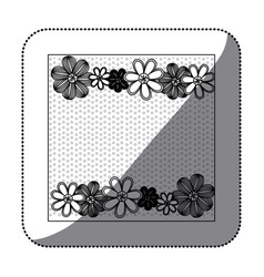 sticker monochrome pattern dotted with row flowers vector image vector image