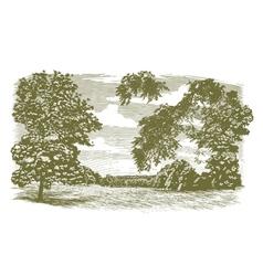 Woodcut Missouri Landscape vector image vector image