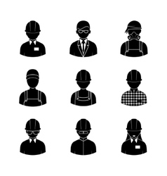 Workers silhouettes icons vector