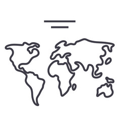 world map line icon sign o vector image