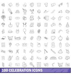 100 celebration icons set outline style vector