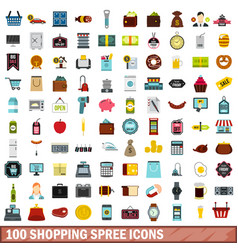 100 shopping spree icons set flat style vector