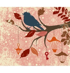 Christmas background of tree branch with bird and vector
