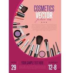 Cosmetics promo flyer with date and time vector