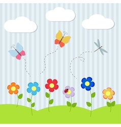 Background with flowers and flying dragonflies vector