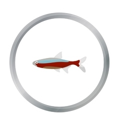 Neon fish icon cartoon singe aquarium fish icon vector