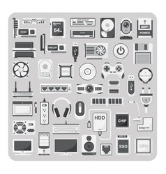 flat icons computer set vector image