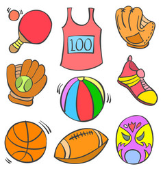 doodle object various sport collection vector image