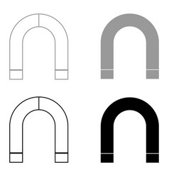 Magnet the black and grey color set icon vector