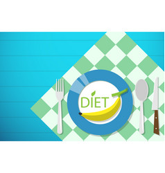 Banana on dish diet and health concept vector