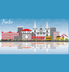Kochi skyline with color buildings blue sky and vector
