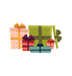 Holiday present gift boxes pile vector