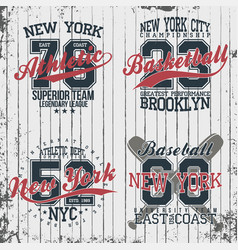 athletic vintage t-shirt graphic designs set of vector image