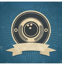 Retro bowling ball emblem vector