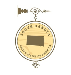 Vintage label south dakota vector