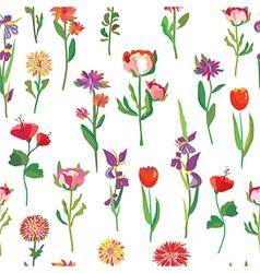 Seamless flowers pattern for garden vector image