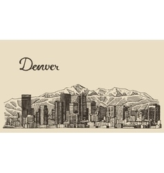 Denver skyline engraved hand drawn sketch vector