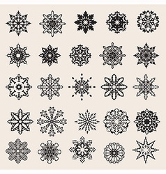 25 Snowflakes Set vector image