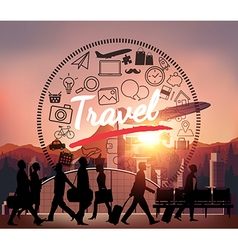 Silhouette people with airport background vector