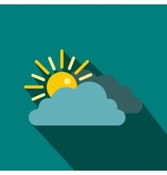 Sun and cloud icon in flat style vector image