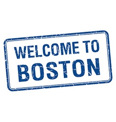 Welcome to boston blue grunge square stamp vector