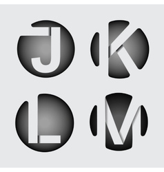 Capital letter j k l m  of wide white stripes vector